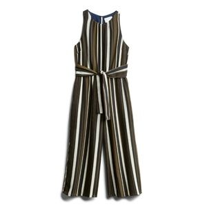 FRENCH GREY Olive Striped Cropped Jumpsuit NWOT